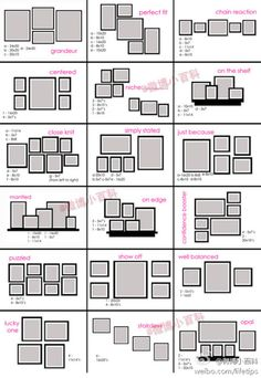 arrange wall photos with sizes