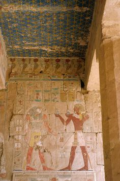 Painted Relief of Thutmose III Offering Wine to Sokaris at Chapel of Anubis