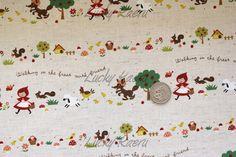 Kawaii Fairytale Little Red Ridinghood Rows on Natural Japanese Linen Fabric - Half Yard. $9.95, via Etsy.