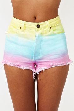 rainbow ombre shorts