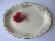 Shabby Vintage Homer Laughlin Gold Cream Floral by thechinagirl, $14.50