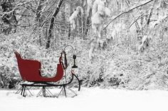 red sleigh in snow