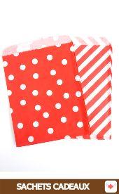 sachets papier cadeaux rouge à pois ou rayures #red #rouge #circus #partyideas #party #birthday #anniversaire #partyshop #partysupplies #partysuppliesshop #favors #bags #sachets #cadeaux