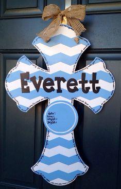 Baby Boy Chevron Hospital Cross Door Hanger by SweetSophieJacks, $35.00
