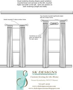 A great visual showing the difference in mounting a drapery rod higher and wider on the same size window.