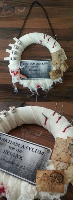 DIY Asylum Halloween Wreath.