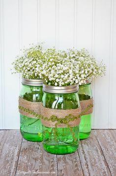 spring centerpiec, ball jars, mason jar centerpieces, mason jars