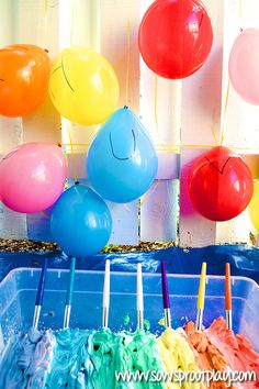 Painting Balloons with shaving cream- creative art for kids