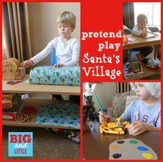 Santa's Village gift wrapping station, wrapping gifts, dramat play, santa villag, holidays, pretend play, christma, kid, the holiday