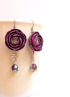 #Purple #earrings  Peonies  Fall earrings  Flower by #insoujewelry, $33.00