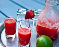 Frozen Strawberry Lime cocktails