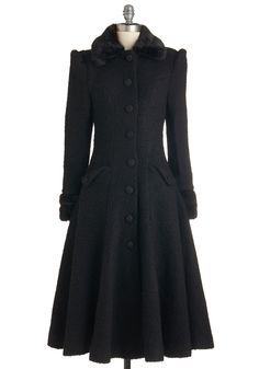 Mountain Majesty Coat in Black. Wrapped snugly in the stunning beauty of this black coat, you greet the chilly mountain air with a smile! #black #modcloth