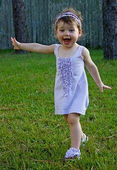 Little girl dress from adult tshirt