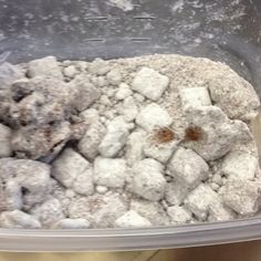 Puppy chow, every college students favorite snack. Hershey's kisses, peanut butter, Chex cereal, and powdered sugar. Melt chocolate and peanut butter in bowl, pour into ziplock with cereal shake, pour in powdered sugar till fully coated enjoy!!! I also like adding mars mellows and pretzels.
