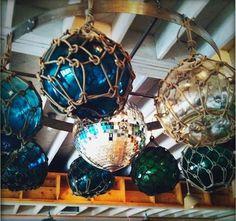 Beautiful floats glass float, disco ball, balls, antique glass, discos, fish float, blue, beach houses, fishing
