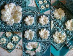 flower squar, crochet flower, pattern, crochet motif, diy craft, ecat flowermad, crochet project, granni squar, flowers