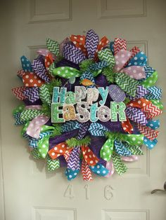 Happy Easter, Easter Mesh Wreath, Easter Wreath with Polka dot and Chevron ribbon by TowerDoorDecor, $60.00