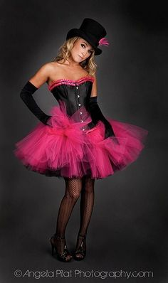 Size small hot pink and black hot pink and black tulle corset prom dress Ready to Ship