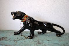 Mid Century Black Ceramic Panther by junk2funkbiz on Etsy, $165.00