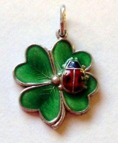 Vintage Silver German Enamel Lucky Ladybug on Clover Charm Gorgeous | eBay