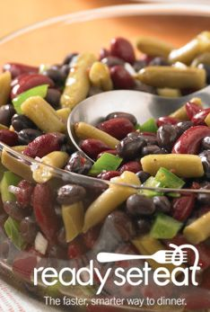 Three Bean Salad... Featuring kidney beans, black beans and green beans, whip this assortment of veggies up in just 10 minutes for a fantastic side dish.