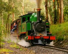 """""""Puffing Billy"""" - """"This century-old steam train continues to run on its original mountain track from Belgrave to Gembrook in the magnificent Dandenong Ranges 40kms east of Melbourne.""""."""