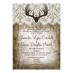 Rustic Country Camo Hunting Antlers Wedding Invitations