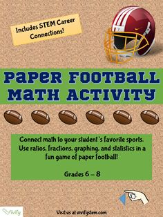 Free Paper Football Math Activity: Ratio  Proportions with STEM Career Connection. Students learn how their favorite sports calculate common statistics like batting average or throwing accuracy. Students then play a game of paper football to find their own field goal accuracy! Great for practicing middle school math concepts.