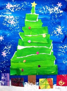Adorable Bright Christmas Tree Art Project