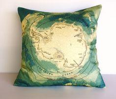 Decorative pillow throw pillow map cushion by mybeardedpigeon, $55.00 #pillow #cushion #housewares #homewares #antarctica #organic cotton #map #maps