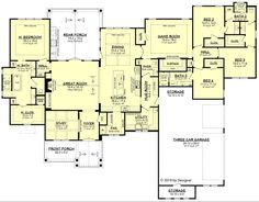 Ranch Style House Plan - 4 Beds 3.5 Baths 3366 Sq/Ft Plan #430-190 - Houseplans.com
