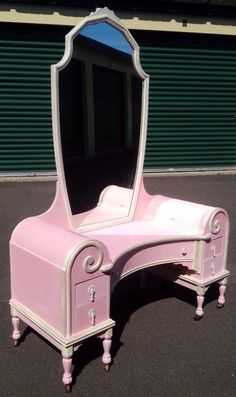 Pink/Pearly White Glamazon 1920's Vanity ASCP on Etsy, $599.00 hand paint, paint piec, paint furnitur, etsi stuff, paint french, furnitur idea