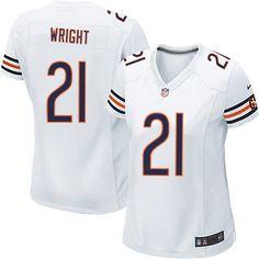 $109.99 Women's Nike Chicago Bears #21 Major Wright Elite Away White Jersey