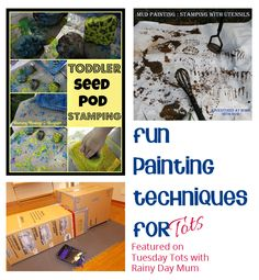 Fun painting techniques for tots that go away from brushes and sponges - prepare to get very messy