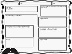 Free guided reading planning template