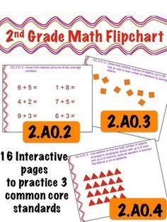 2nd Grade Math Flipchart - Common Core 2.AO.2 , 2.OA.3, & 2.OA.4 $