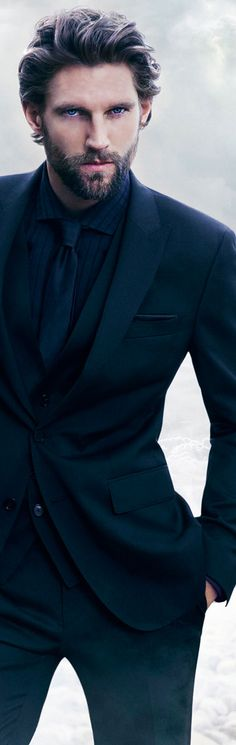 Hugo Boss beards and suits, bearded men in suits, hugo boss mens suits, dark suit, beard suit, hugo boss suit, men in suits with beards