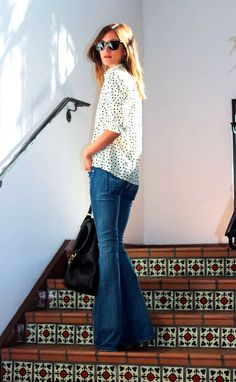 polka dot top + flared denim
