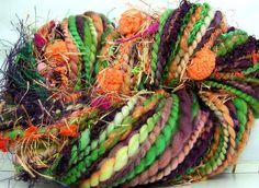 HandSpun Art Yarn bulky wool Tropical Fruit 72 yards Kitty Grrlz FunctionArt art yarn