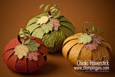 "Pumpkins, each made with 11 strips of 3/4"" x 5-1/2"" cardstock. Before assembling, emboss strips with various textured folders. Embellished with SU ""leaves of gratitude"" stamp set."