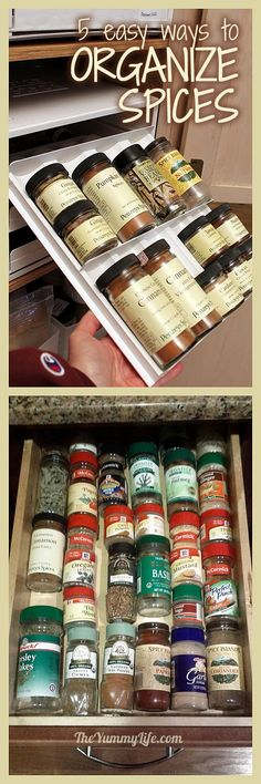 How to Organize Your Spices--5 easy methods from real family kitchens. www.theyummylife.com/how_to_organize_your_spices