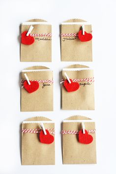 Mini Package Valentines using craft bags as an envelope and die-cut hearts