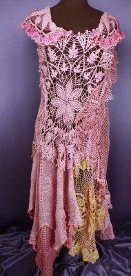 Crochet Tapetito Vestido - Long-rosa con un toque amarillo