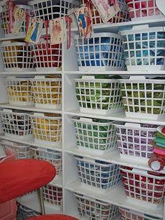 Lovely Fat Quarter bins in Lori Holt's studio...(Bee in my Bonnet)
