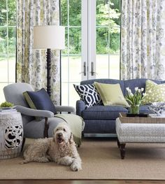 Indigocitron Room Fabric Collection. Image: Calico Corners. #fabric #furniture #interior_design #decorating #thom_filicia #robert_allen #linen_floral #goldendoodle #upholstered_furniture #custom_draperies