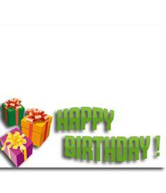 Fotomontaje para hacer una tarjeta de cumpleaños con tu fotografía con el texto HAPPY BIRTHDAY. La composición desea un feliz cumpleaños con letras verdes, vemos regalos de colores. www.fotoefectos.com