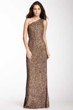 one shoulder sequin gown
