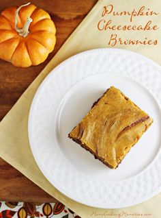 Pumpkin Cheesecake Brownies  -- a triple dose of awesome: chocolate, pumpkin, and cheesecake! #autumn #fall #thanksgiving #OXOGoodBrownie