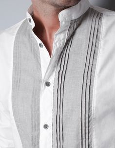 SHIRT WITH FINE PLEATED BIB FRONT