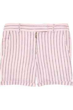 A.L.C.|Camden striped cotton and linen-blend shorts|NET-A-PORTER.COM